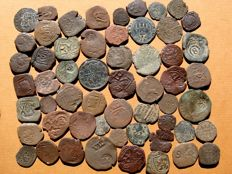 Spain - XIV-XVIII centuries, set of 56 coppers minted for the Spanish crown between the period of Enrique IV and Catholic Kings to Carlos IV  Coins from Felipe III and IV predominate (1598–1665) 56 pieces.