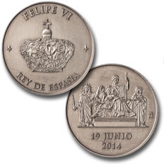 Spain - Philip VI, proclamation medal in 925 silver. 19-VI-2014. Proof, in its original box with FNMT certificate.