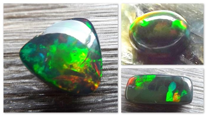 3 x Natural Black Opal with play of color - 3.72 CT - 3.45 Ct - 2.80 Ct - GIL Certified
