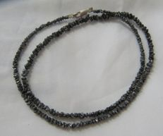 23.48 ct Bracelet or Necklace with Black Rough Diamonds - 16 inches