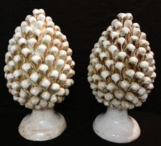 Caltagirone Ceramics - Pair of Pine Cones