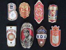 Collection of 8 Nice Bicycle Head Badges with some rare ones including - Van Belleghem Woumen and others