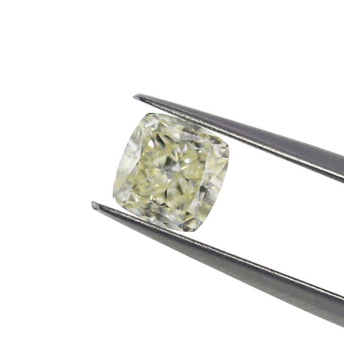 Natural N (Tinted) 1.51 ct. VS2 Cushion shape Diamond, GIA Certified