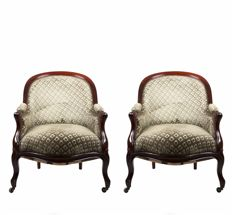 A pair of armchairs in Louis Philippe style - France, ca. 1850