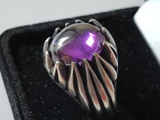 Men's ring made of silver with amethyst cabochon cut, second half of the 20th century, handmade