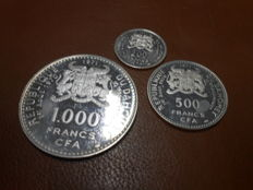 Dahomey - 200, 500 and 1000 Francs, 1971 - 10th Anniversary of Independence (3 coins) - silver