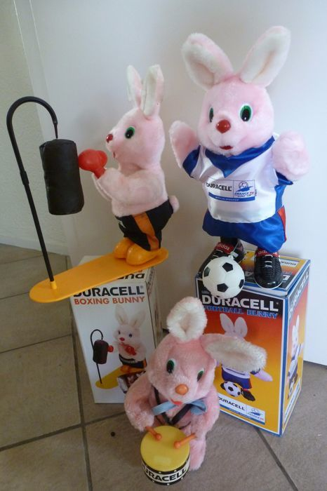 3 original Duracell Bunnies -  1980 / 1994 / 1998