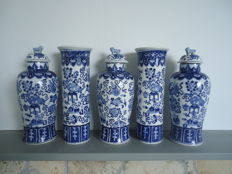 Petrus Regout 5 cabinet vases Chinese style
