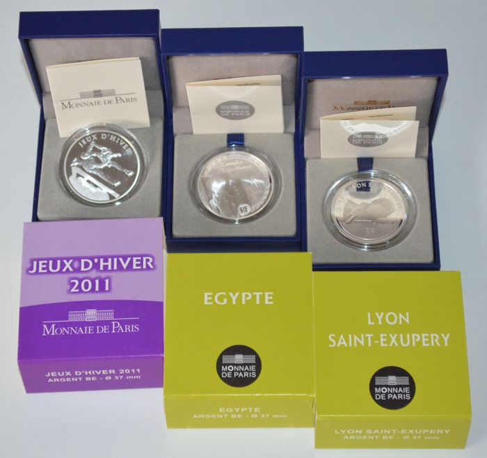 """France - 10 Euro 2011 """"Jeux d'Hiver"""" and 10 Euro 2012 """"Lyon Saint-Exupery"""" and """"Egypt"""" (3 coins) - silver"""