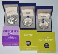 "France - 10 Euro 2011 ""Jeux d'Hiver"" and 10 Euro 2012 ""Lyon Saint-Exupery"" and ""Egypt"" (3 coins) - silver"