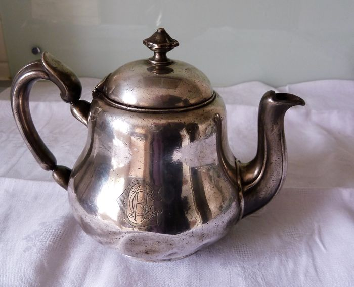 """Silver plated metal teapot, monogrammed """"CA"""" inside the letter C, numbered 2019719 and hallmarked 4 times, marked CHRISTOFLE"""
