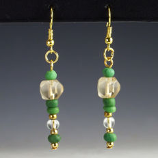 Earrings with Roman glass beads - 56 mm