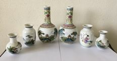 Collection of Famille Rose porcelain vases - China - Around 1970