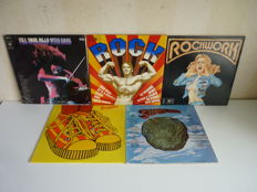 """Lot with 5  x 2lp Progressive Rock Compilation  Albums in a vg++ state: """"Bumpers / """"""""Rockwork"""" / """"""""Superrock"""" / """"Rockbuster"""" / """"Fill your Head with rock""""  Many styles are present in this big sampler lot."""