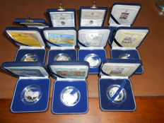 Italy, Republic – Lot of 11 commemorative Proof coins, 1985-96, in cases – Silver
