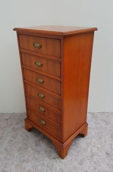 Narrow mahogany wood side table, second half of 20th century