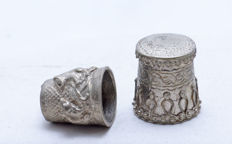 Lot - 2 Thimbles - 925 Sterling Silver - Filigree - Israel - ca. 1960's