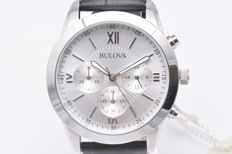 Bulova Men's Chronograph with Steel Case and Leather Strap