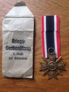 KVK war merit cross 2nd Class with swords and awarding bag Gablonz 67