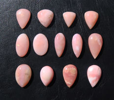 Lot of pink opals cut into cabochons - 16 to 27mm - 130 ct (13)