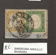 Sardinia 1855-1863 - lot of 34 stamps of the 4th issue with various colour tones