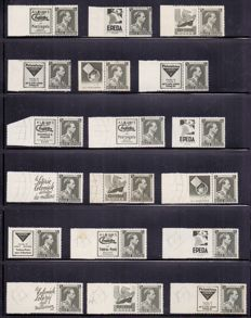 Belgium 1930/1970 - composition of publicity stamps on four plastic sheets