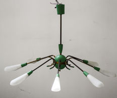 Unknown designer - Pendant light with 8 lights, glass and brass