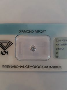 0.52 ct brilliant cut diamond D I.F