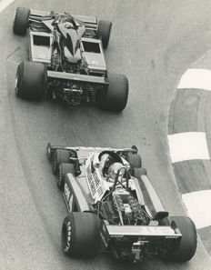 1977  Monaco Grand Prix  6 Wheel Tyrrell Depailler and Lotus   Michael Hewett original photograph