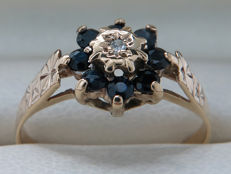 Certified gold cocktail ring with sapphires and diamonds 0.19 ct, **no reserve price/no minimum price**
