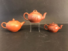 Three modern yixing teapots (replicas) - China - late 20th century