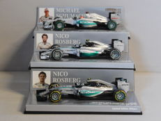 Minichamps - Scale 1/43 - Lot with 3 x Mercedes AMG Petronas F1 Team (2012, 2014 & 2015)