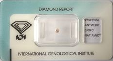 Natural Fancy Light Pink Diamond 0.09 ct  with IGI cert *** no minimum price***