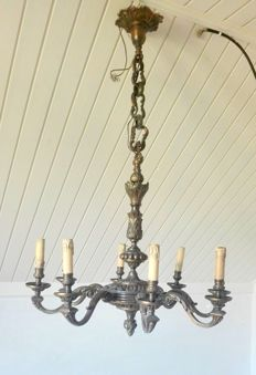 Bronze eight light chandelier, mid 20th century