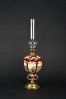 Antique copper / bronze with porcelain standing oil lamp, Germany, early 19th century