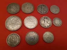 World - Lot with various coins, 1873/1965 (11 pieces) - silver