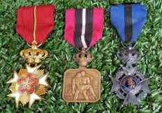 3 medals - order of Leopold/Courtoisie Belge/courage and self-sacrifice