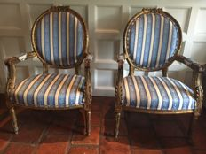 Beautiful pair of gilded wooden Louis XVI-style armchairs - France, 19th century