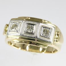0,37ct diamond set  on 18kt bicolour gold men's ring - size 65