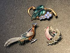 3 Enameled Brooches  from ca. 1960's