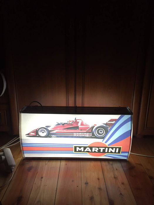 Vintage MARTINI RACING F1 double sided large exclusive lightbox 63cm x 32cm x 15cm illuminated advertising sign - xxl dealer sign late 1990s