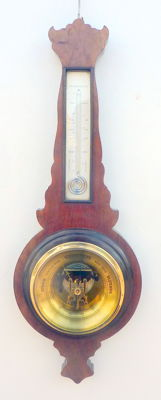 Walnut Aneroid Barometer with Mercury Thermometer