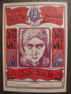 "Janis Joplin Big Brother & the Holding Company San Francisco Family Dog poster ""Gloria Swanson""""  by Mouse & Kelley 1966"