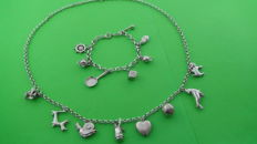 Silver charm necklace and bracelet