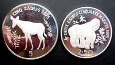 "Zaire - 2½ and 5 Zaires 1975 ""Endangered Wildlife"" (2 different coins) - silver"