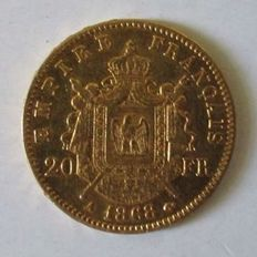 France - 20 Francs 1868 A (Paris) - Napoleon III - Gold