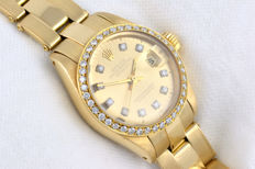 Lady Rolex Datejust  Diamonds 18k gold ref 6917