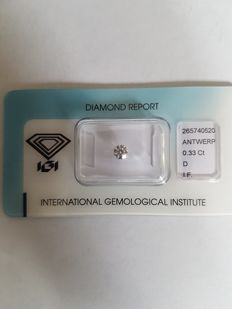 Brilliant cut diamond of 0.33 ct, D IF