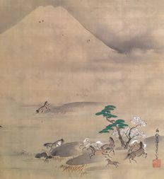 'Playful Horses under Mount Fuji' - Old handpainted hanging scroll, incl original wooden box - signed and sealed - Japan - ca. 1700 (Edo period)