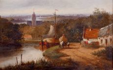 Jan Evert Morel II (1835-1905) - Idyllisch Hollands Landschap
